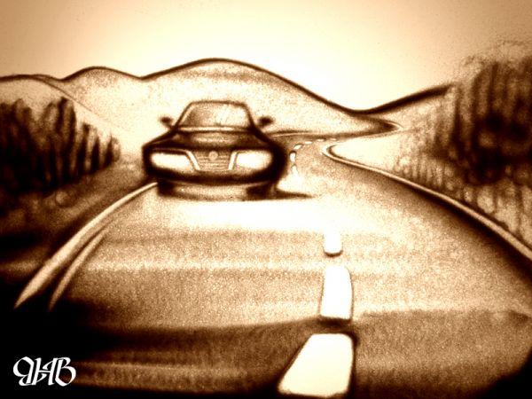 Рисунок в технике sand art.