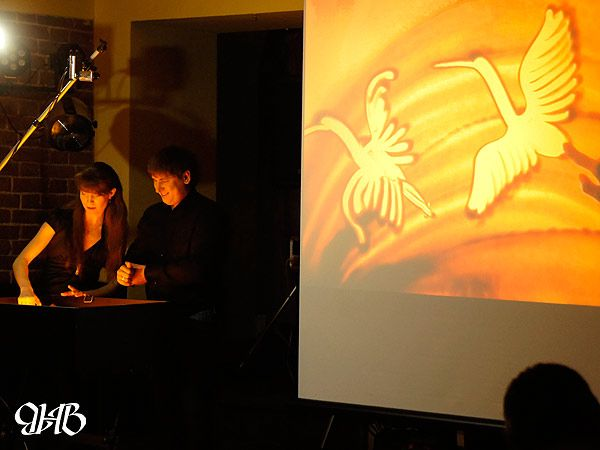 Песочное шоу на юбилее в «Петровом дворе» в Екатеринбурге.