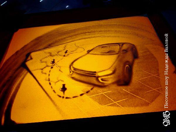 Песочная анимация на презентации «Lada Vesta SE Cross» в Екатеринбурге.