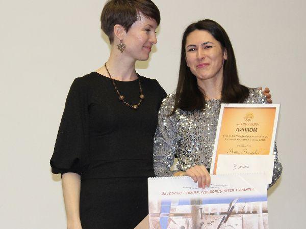 Надежда Валова на вручении дипломов фестиваля песочной анимации «Дюны» в Кургане.